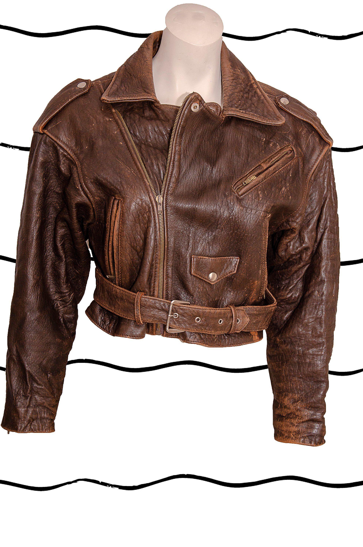 Short BLL Vintage Brown Leather Motorcycle / Biker Jacket