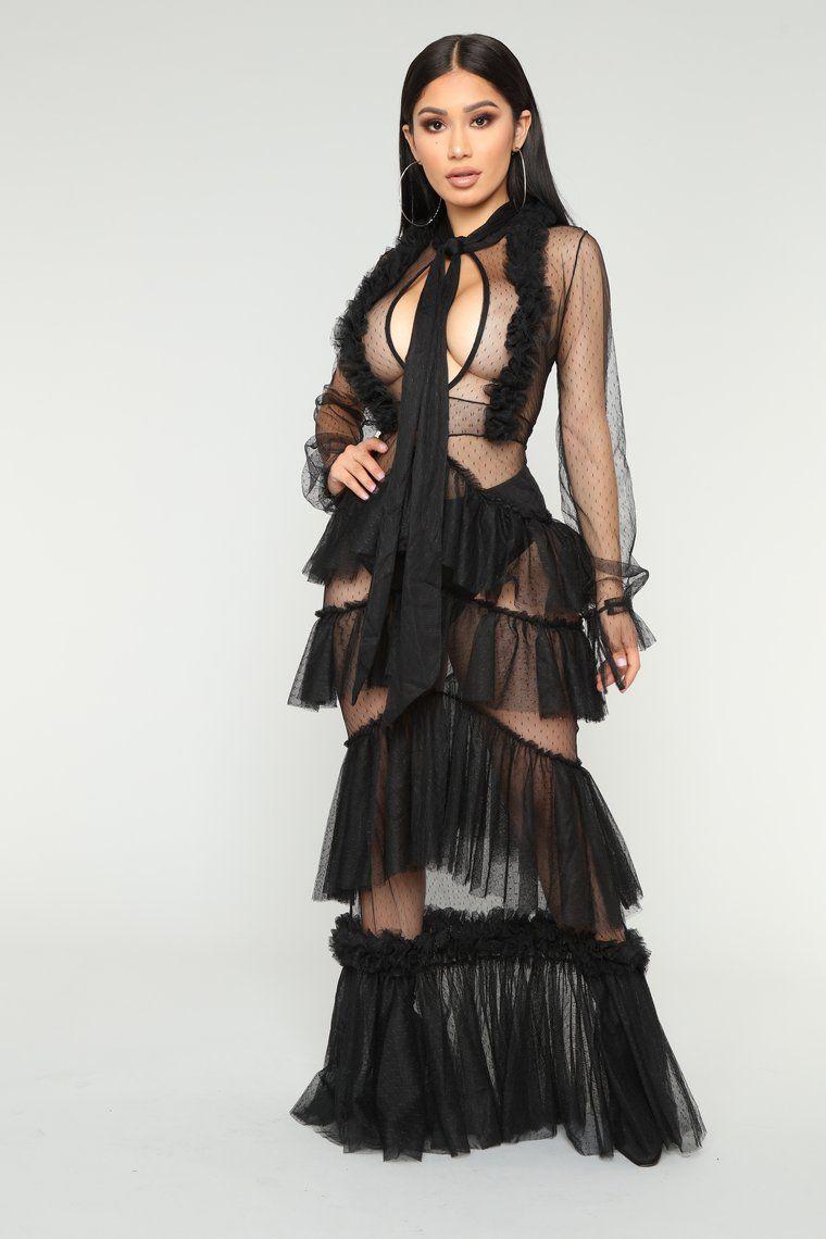 On Display Mesh Dress Black Long sleeve mesh dress