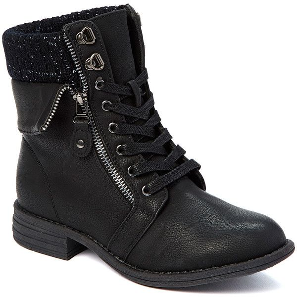 Bucco Black Ursuela Ankle Boot ($30) ❤ liked on Polyvore featuring shoes, boots, ankle booties, ankle boots, lace up booties, zip up boots, black ankle booties and black ankle boots