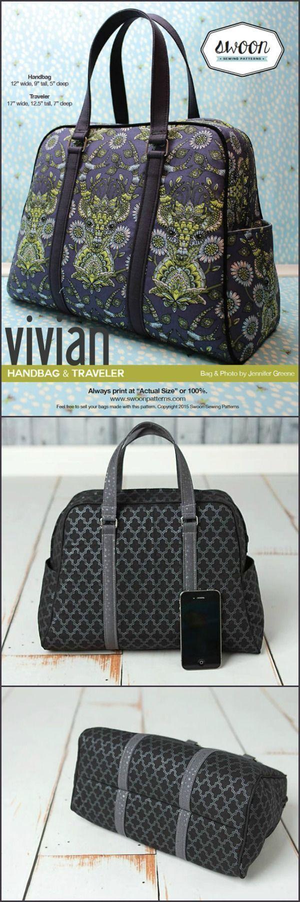 abfe900d9efb Swoon Patterns  Vivian Handbag   Traveler - PDF Bag Purse Travel Bag Sewing  Pattern  etsy  ad  sewingpattern  pursepattern  download