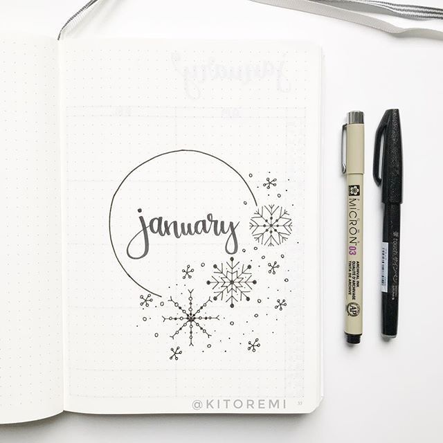 "• kimi • on Instagram: ""hello january ️ . snowflakes are inspired by @bonjournal_ and @journautical . #bulletjournalcoverpage #bulletjournaltitlepage…"""