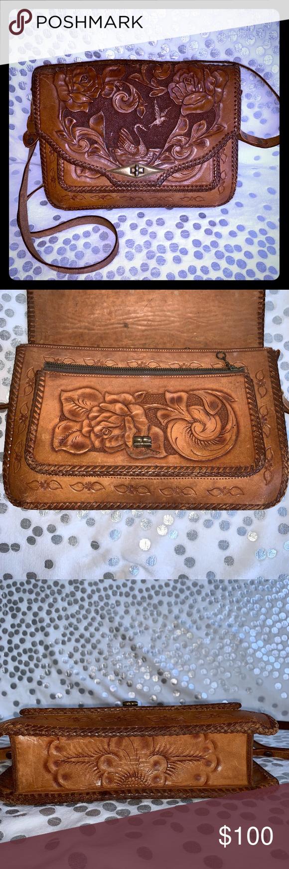 hand tooled beautiful leather bag Beautiful leather hand tooled bag no  brand Bags Crossbody Bags 64601e46ab