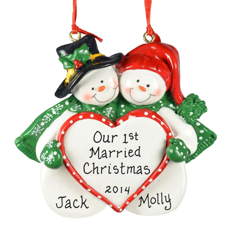 Ornaments & More - Our 1st Married Christmas Ornament Snow Couple Big Heart