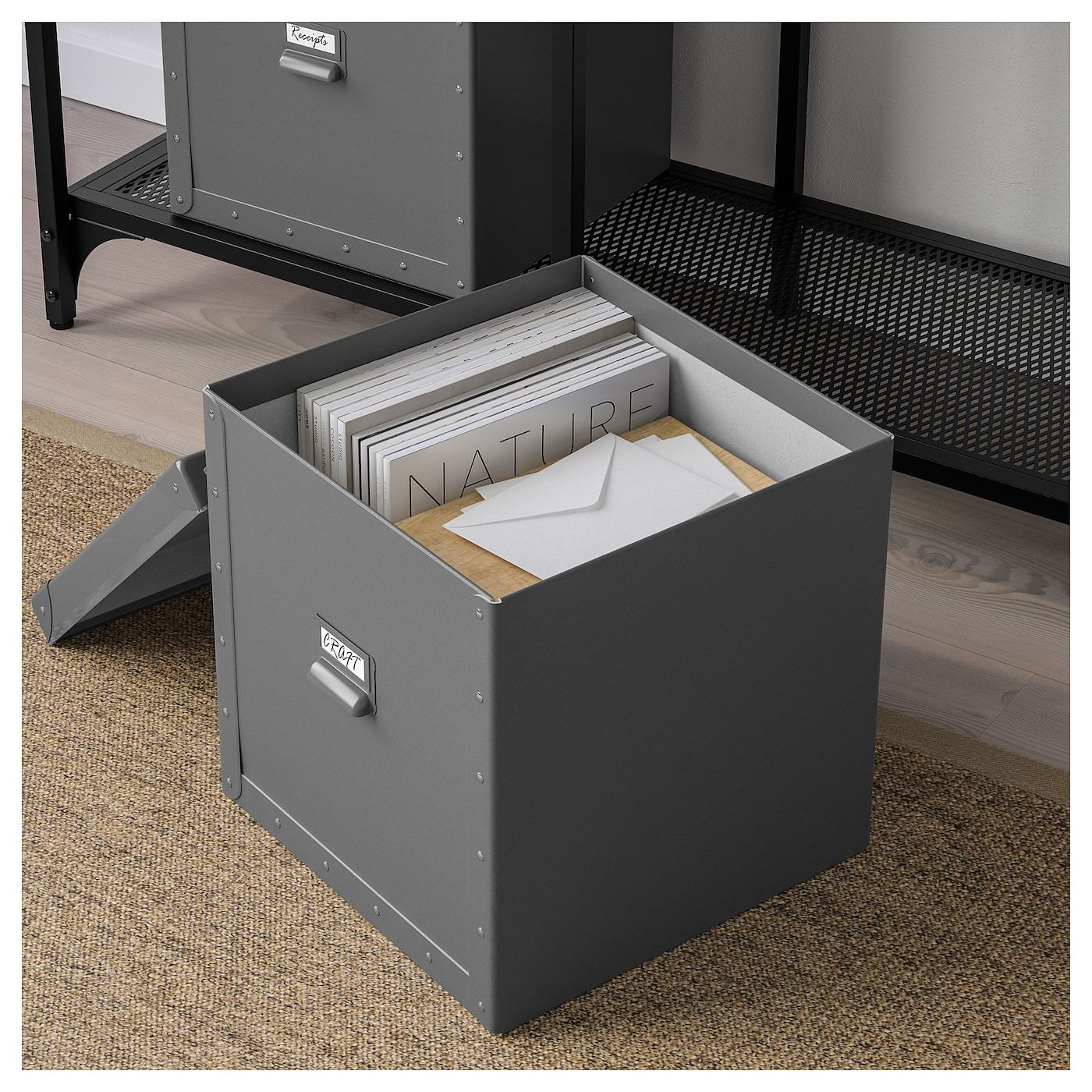 Fjalla Storage Box With Lid Dark Gray 11 X12 X11 Ikea In 2020 Storage Boxes With Lids Storage Bins With Lids Grey Storage