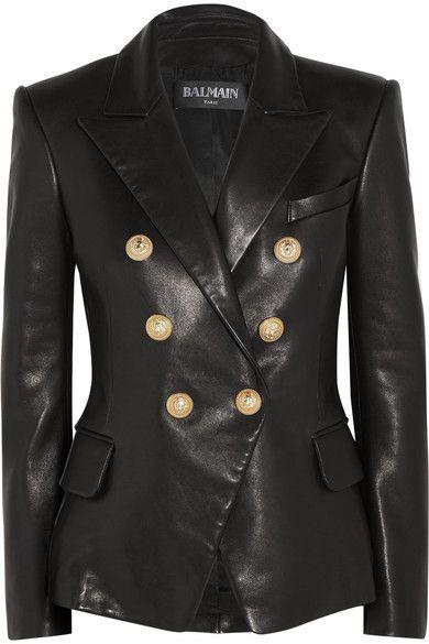 Kim Kardashian Lapel Collar Golden Buttons Style Womens Black Real Leather Jacket