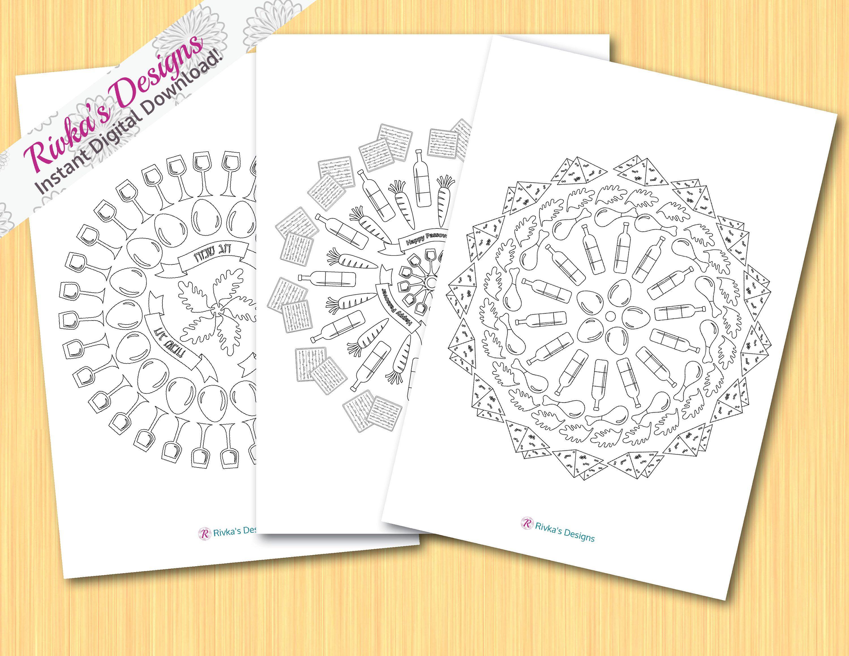 FREE Pesach Coloring Book mandala for Kids, Passover Coloring Art ...