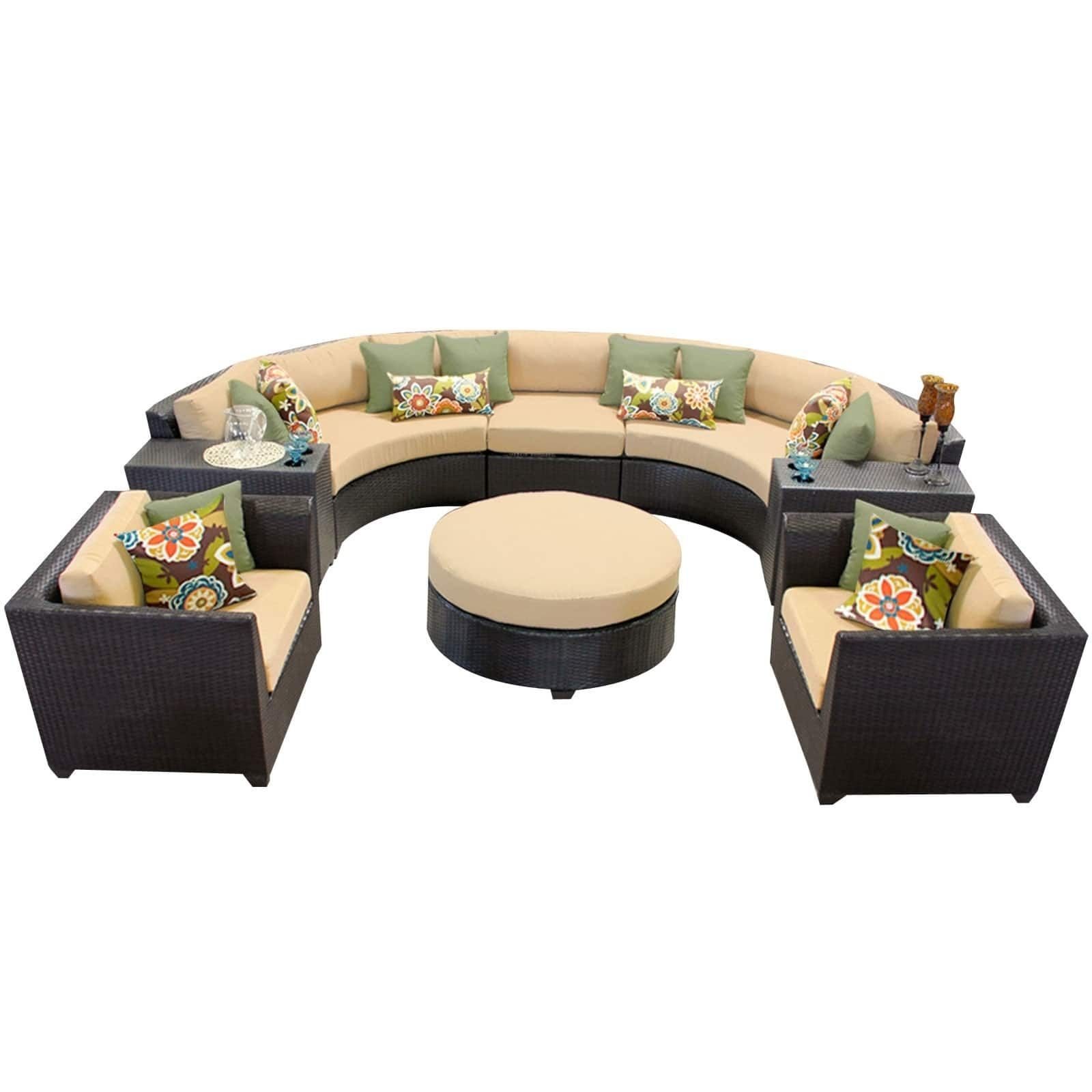 Best Meridian 8 Piece Outdoor Patio Rounded Wicker Sectional 400 x 300