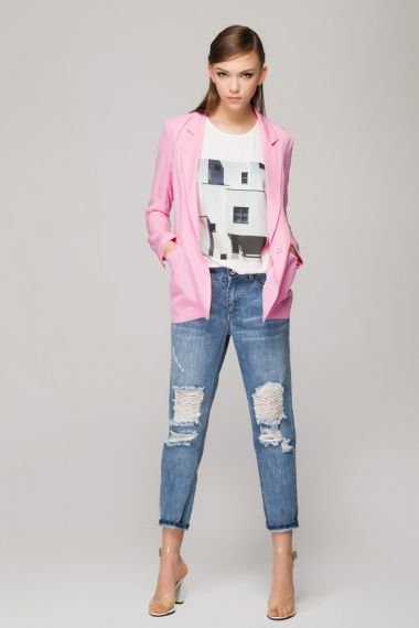 Boyfriend jeans in bleach wash with extreme rips - FrontRowShop