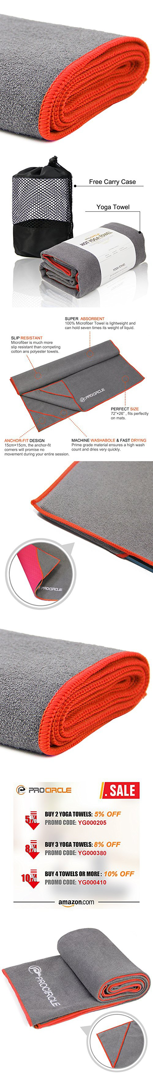 PROCIRCLE Yoga Towel - Orange - Microfiber Hot Yoga Towel, Bikram Yoga Towel, Ashtanga Yoga Towel - Super Absorbent, Non Slip, Machine Washable, Fast Drying - Free Carry Case