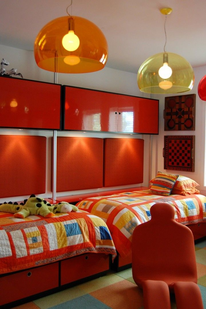 9 and 12 year old boys bedrooms with colorful striped twin