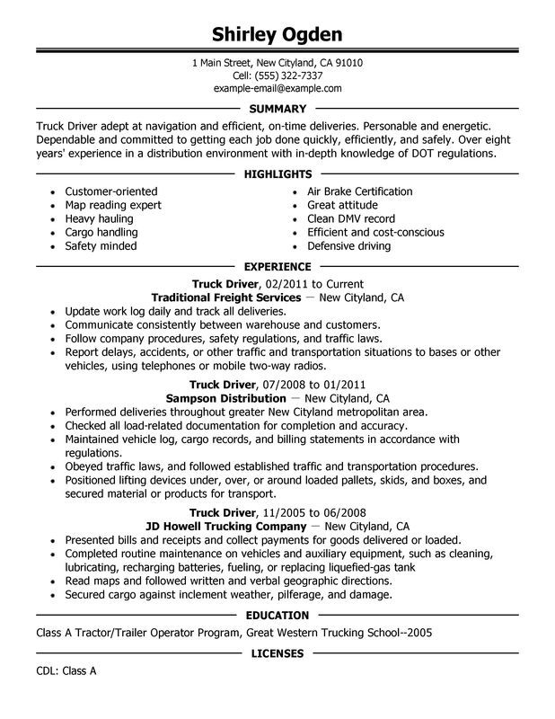 Captivating Truck Driver Resume Sample