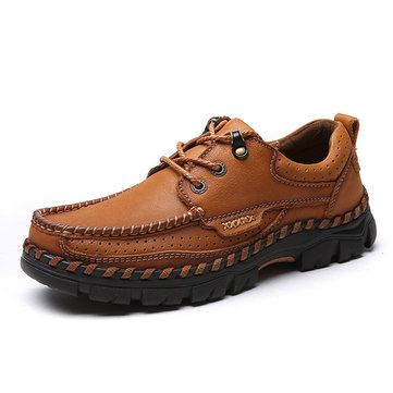 men genuine leather square toe lace up outdoor walking