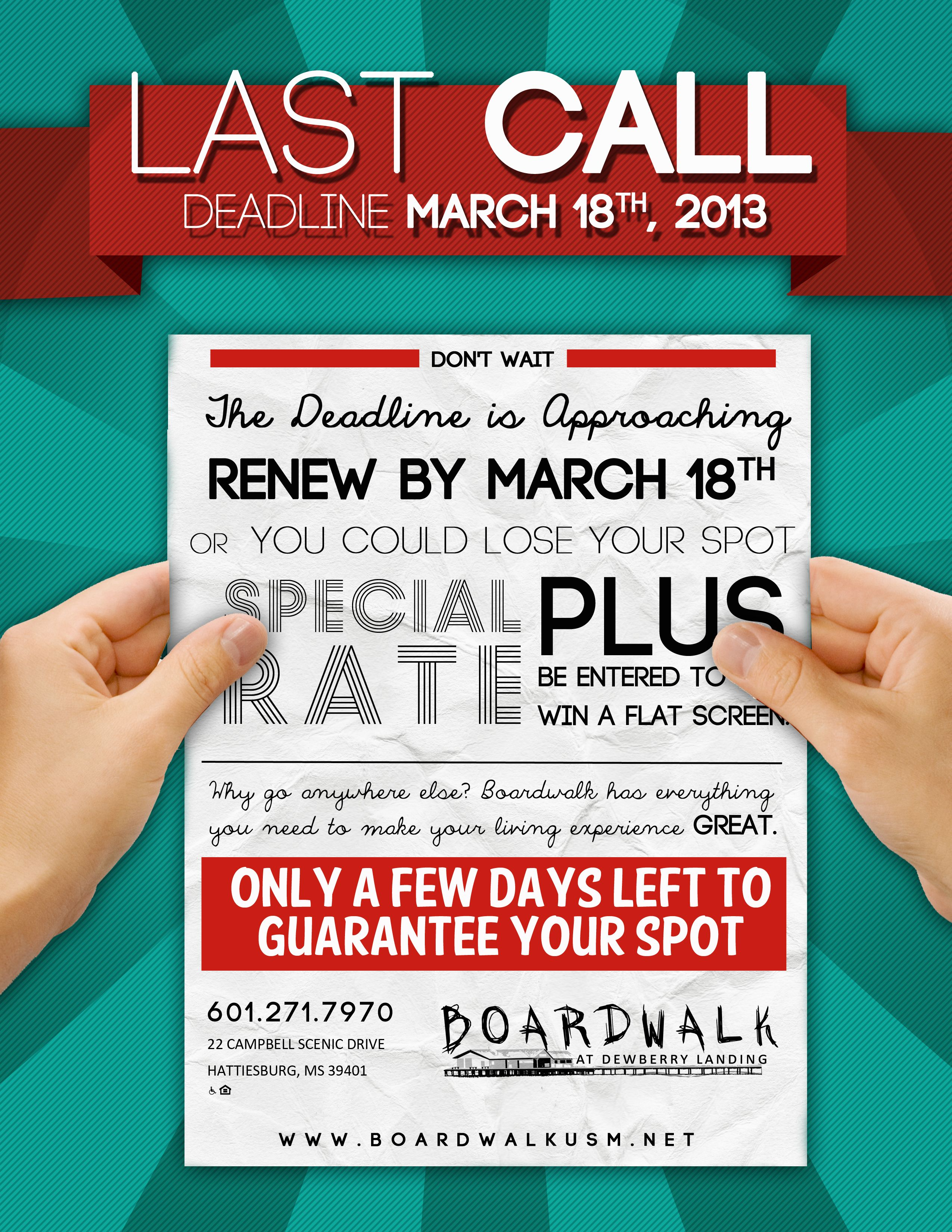 Last call to guarantee your spot avoid paying deposit 39 s for Apartment marketing plans