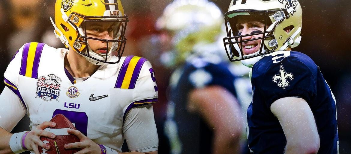 Brees and burrow to meet before lsu plays clemson in 2020