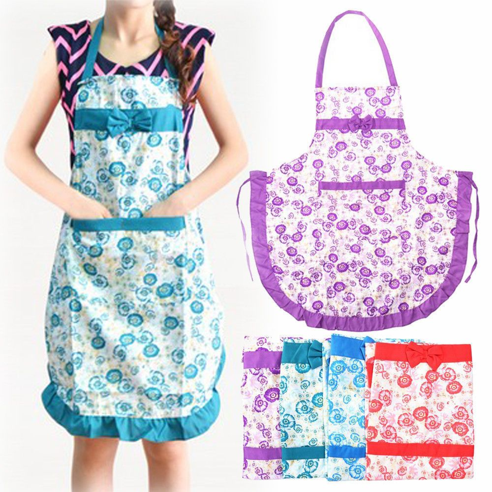 Women Lady Dress Restaurant Home Kitchen with Pocket Cooking Cotton Apron Bib