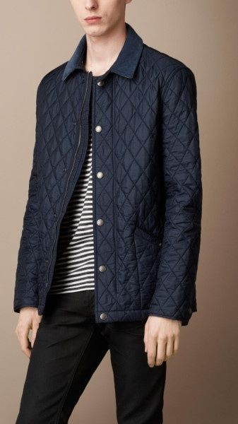Burberry Brit Mens Navy Blue Diamond Quilted Jacket Size