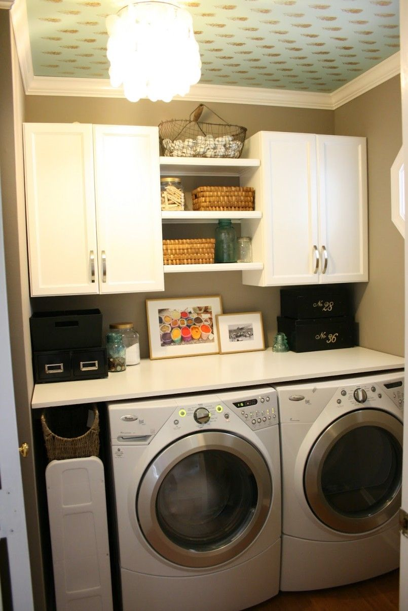 Laundry Shelving Between Cabinets Also Like The Ceiling