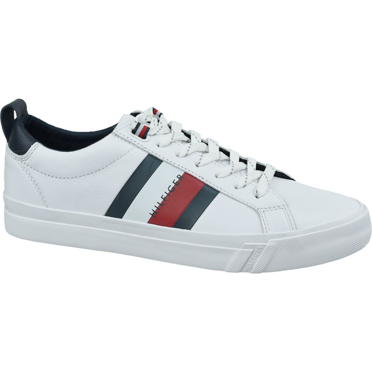 Buty Tommy Hilfiger Flag Detail Leather Sneaker M Fm0fm02576 Ybr Biale Leather Sneakers Tommy Hilfiger Sneakers