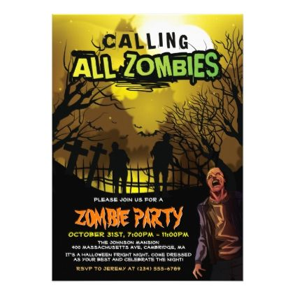 Calling All Zombies For A Halloween Zombie Party Invitation