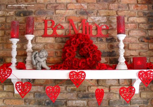 Inexpensive Decorations For St Valentine S Day Valentines Diy Valentines Mantle Valentine Decorations