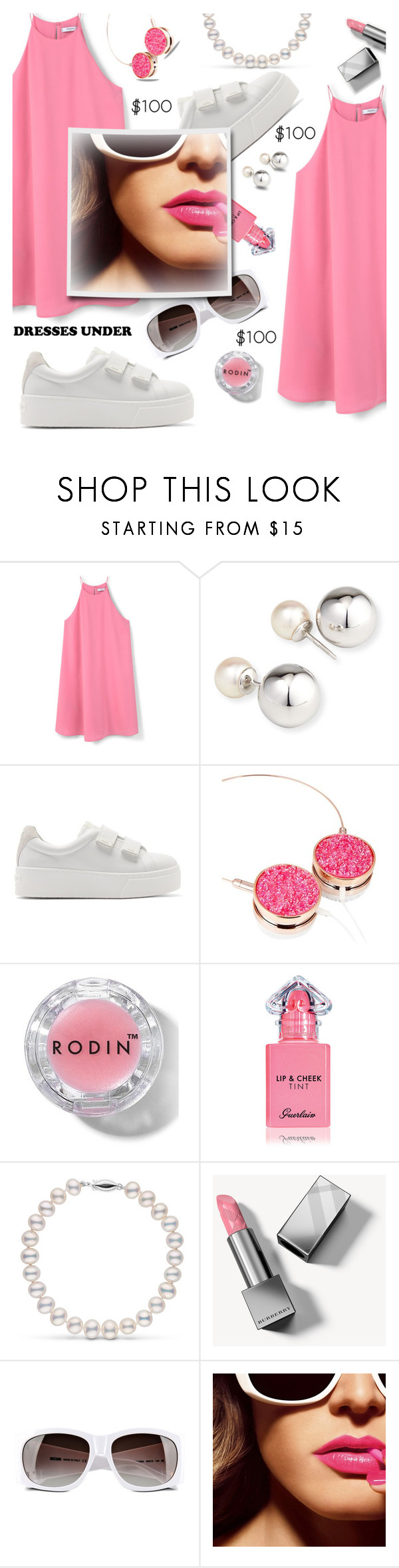 """Pink & bling"" by nineseventyseven ❤ liked on Polyvore featuring MANGO, Yoko London, Kenzo, Skinnydip, Rodin, Guerlain, Burberry and Moschino"