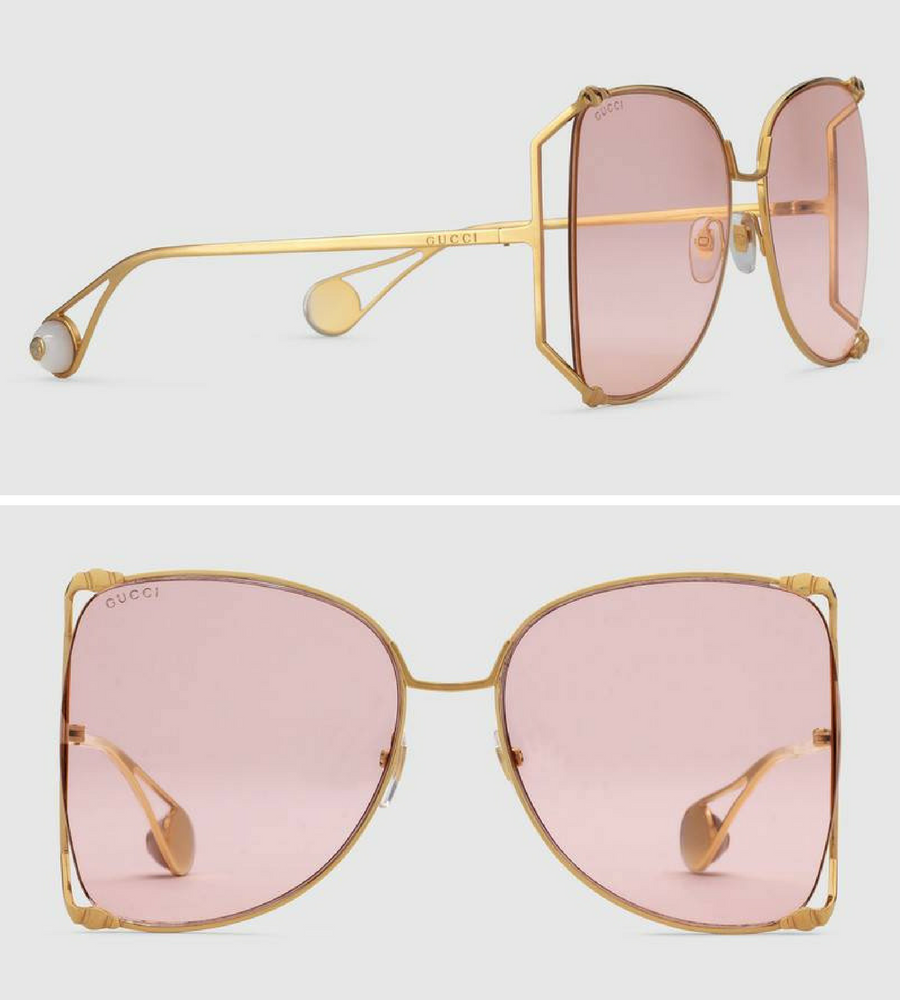 7ba84ad84233 Gucci Oversize round-frame metal sunglasses