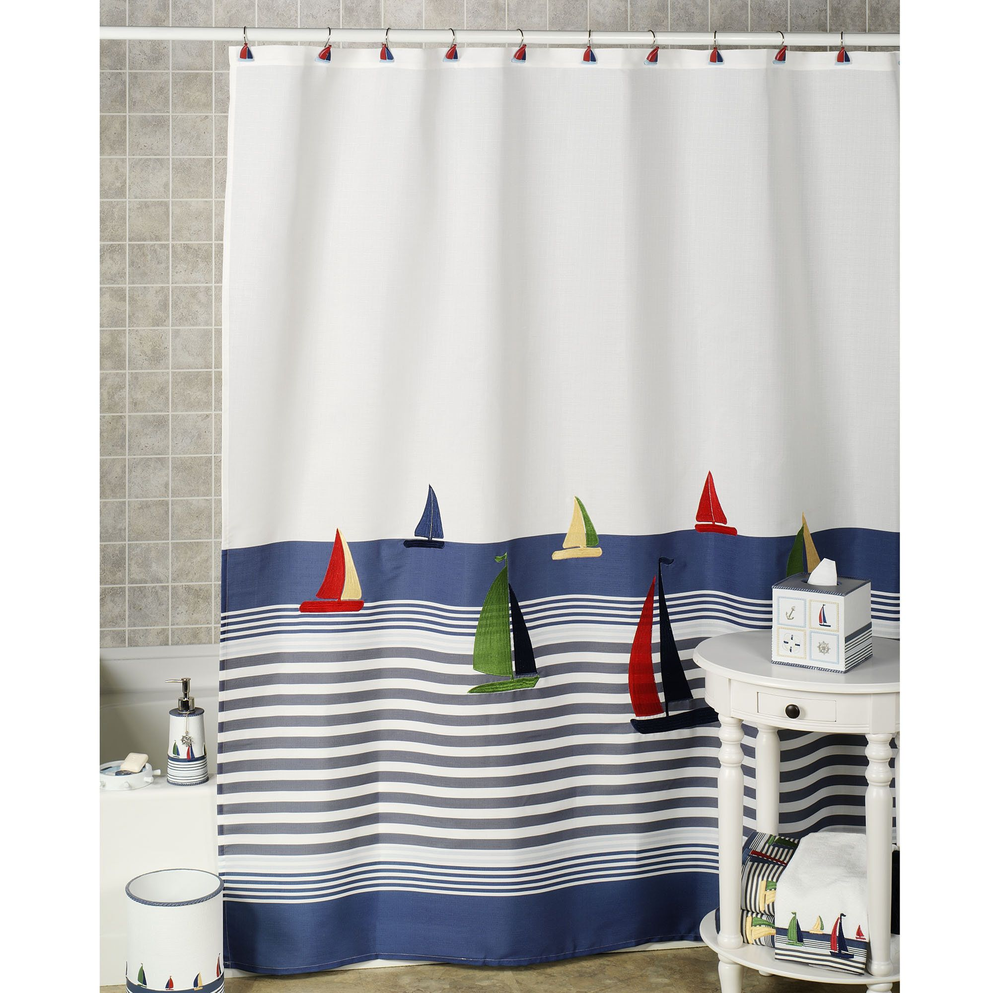 Nautical But Nice Shower Curtain With Sailboats Sailing On A Warm
