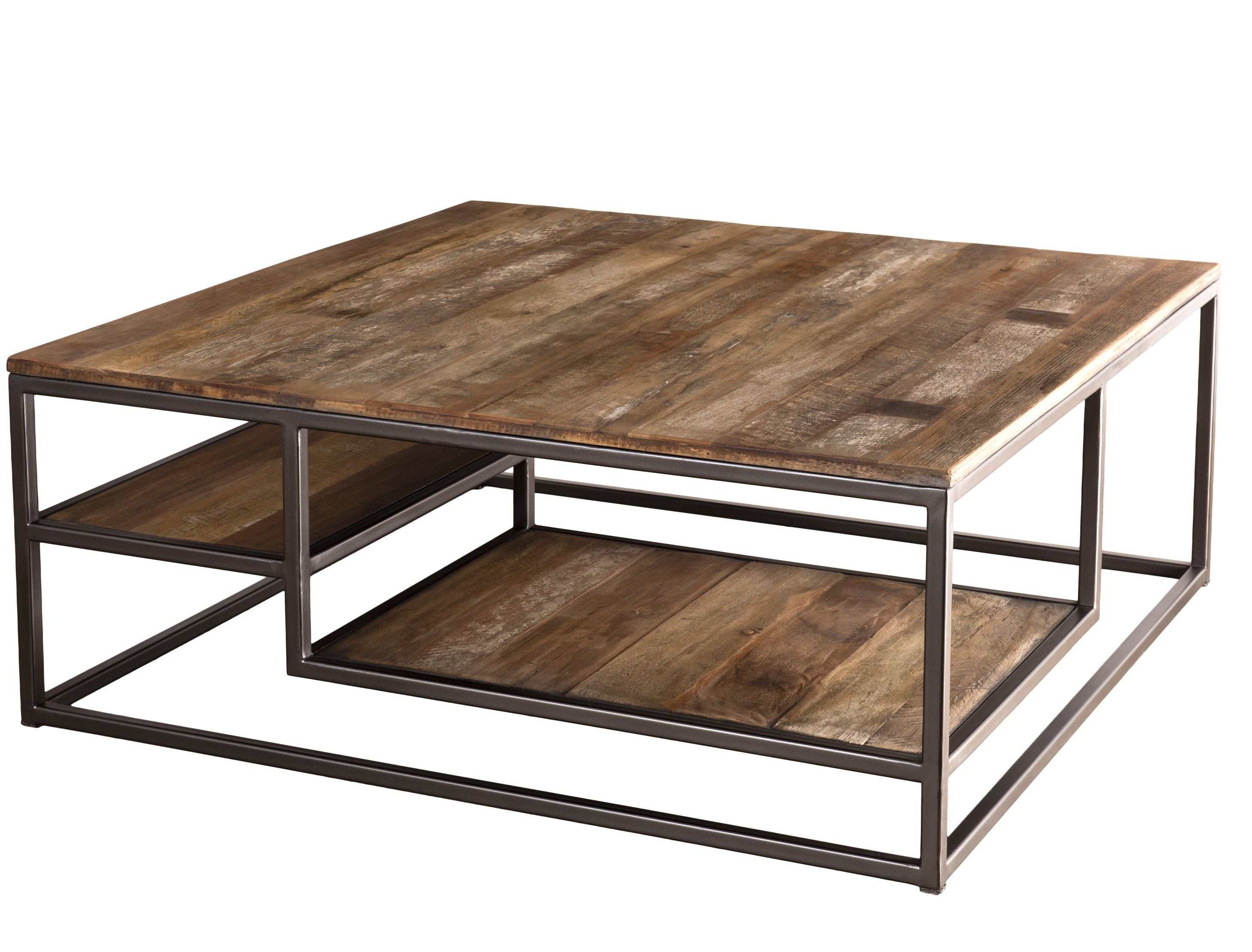 Table Basse Carree Acacia Massif Fonce Et Metal Noir Panka Table Basse Carree Table Basse Table Basse Bois Metal
