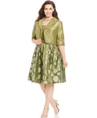 Le Bos Plus Size Dot Print Dress And Jacket
