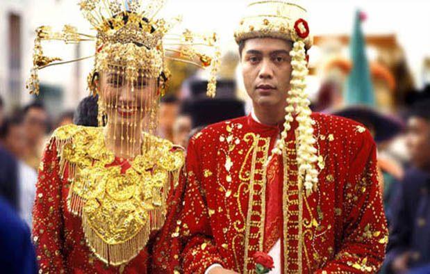 Baju Pengantin Adat Betawi Dki Jakarta Pengantin Gaun Perkawinan Topi Pengantin