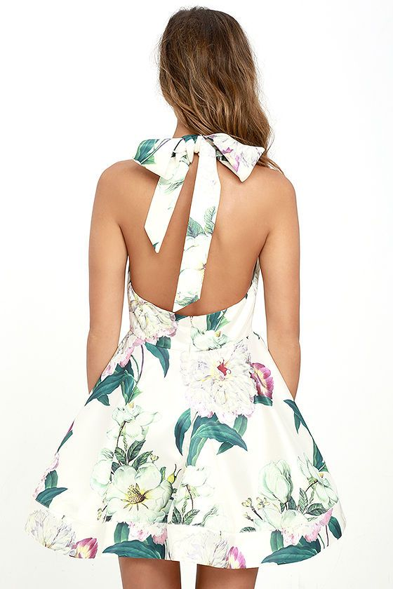 The Hydrangea Haven Cream Floral Print Skater Dress is your little piece of  heaven on earth! Satin fabric has a graphic floral print (in green 54ea5e553