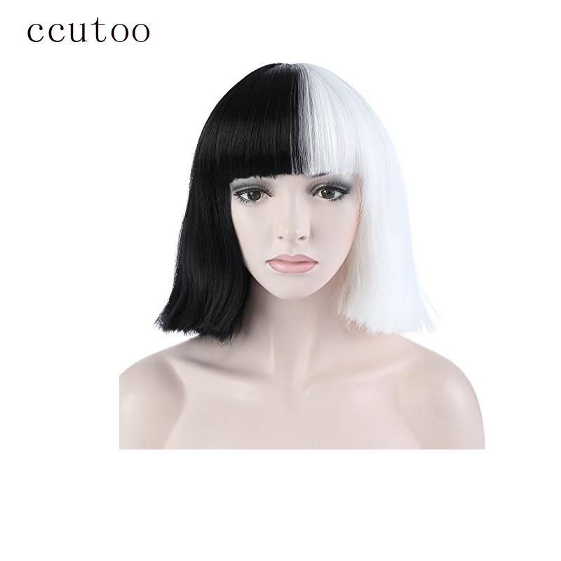 Ccutoo Sia Half Black And White 35cm Short Flat Bangs Synthetic Wig For Women Halloween Party