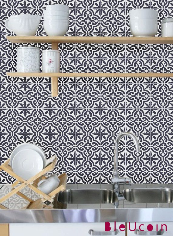 TileWall Decal Moroccan Tile Sticker For KitchenBathroom - Vinyl wall decals backsplash