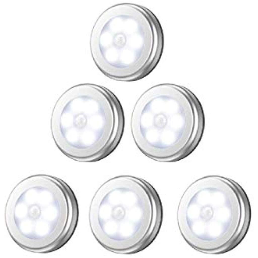 6 Stuck Nachtlicht Mit Bewegungsmelder Led Nachtlampe Mit Bewegungsmelder Batterie Auto Ein Aus Magnetisch Und 3m Klebend Fur Eingan Nachtlampen Nachtlicht Led