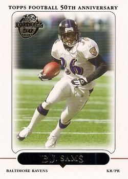 """Bradley Jamar """"B. J."""" Sams (born October 29, 1980) is a former wide receiver and return specialist in the NFL for four seasons from 2004-2008. He played college football at McNeese State University. He was signed by the Baltimore Ravens as an undrafted free agent in 2004, and also played for the Kansas City Chiefs. Mandeville High School alum."""