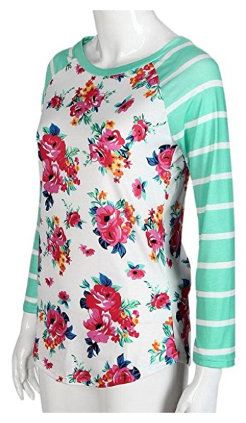I love these women's baseball tees. Women Striped Floral Long Sleeve Round Neck Shirt Top Blouse