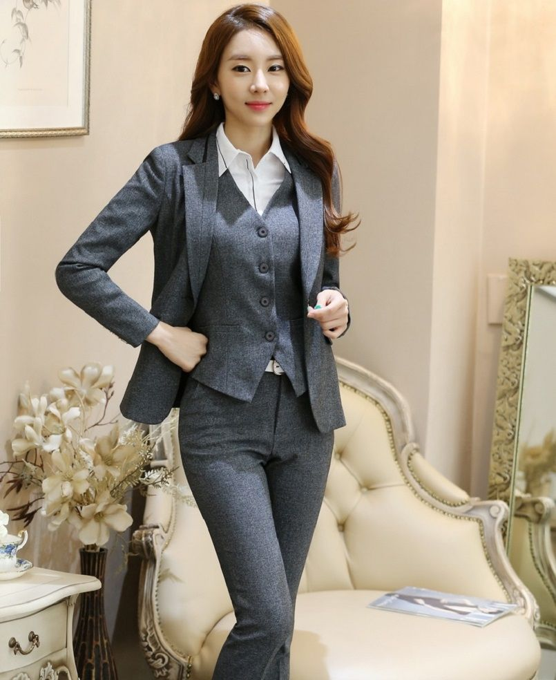 11deabac0626 Novelty Grey Professional Formal Pantsuits For Business Women Suits 3  pieces With Jackets + Pants +