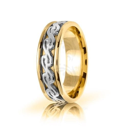 Two Tone 10k Yellow-white-yellow Gold Celtic Double Spiral Wedding Band Polish 7mm 01696