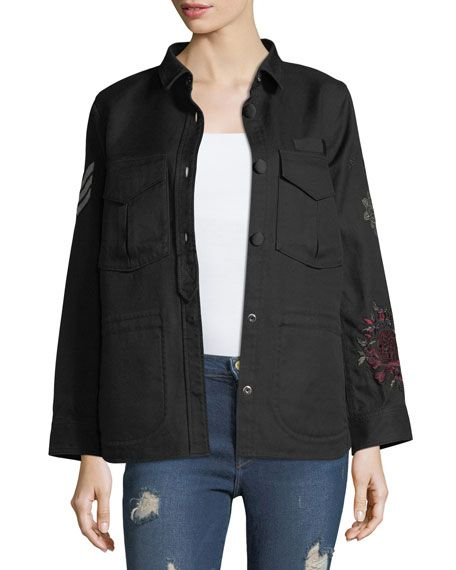 ZADIG & VOLTAIRE Tackl Long-Sleeve Button-Front Embroidered Jacket, Black. #zadigvoltaire #cloth #