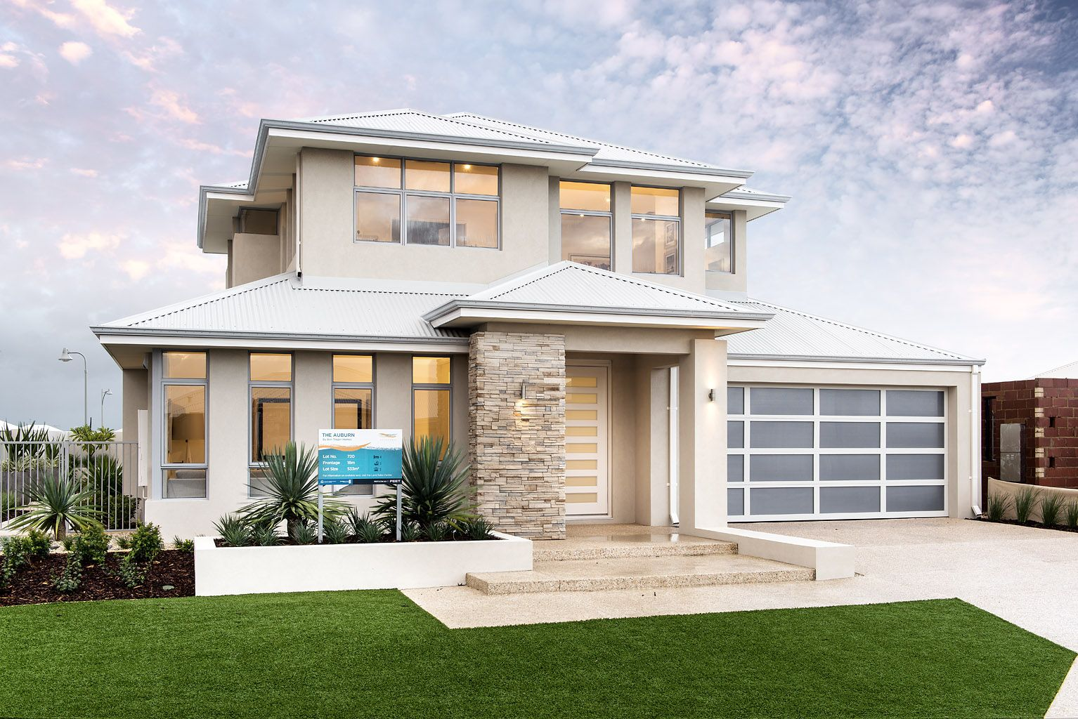 the auburn ben trager homes perth display home modern facade elevation - Modern Display Homes