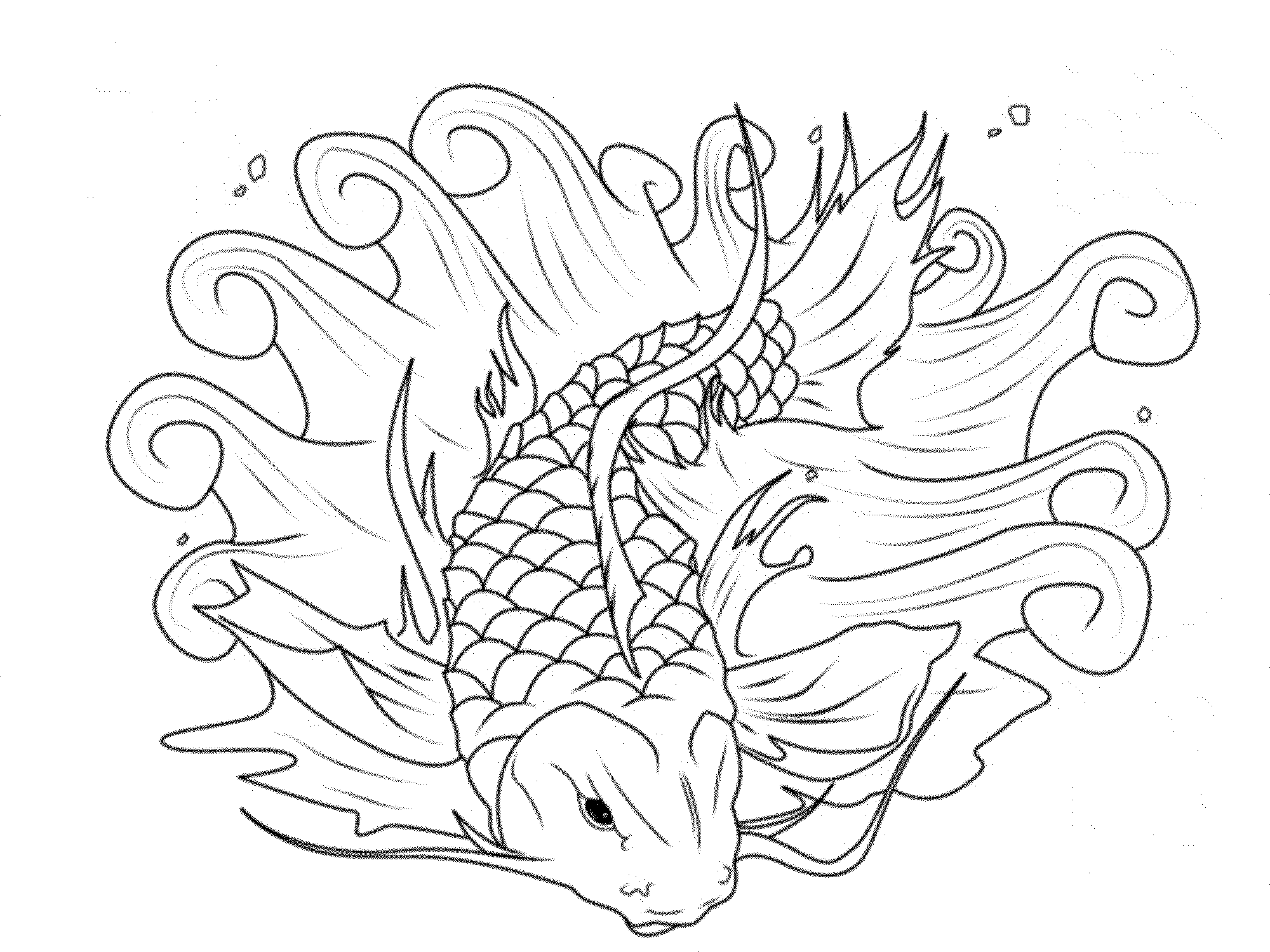 Japanese Koi Fish Coloring Pages - Download & Print Online ... | 1500x2000