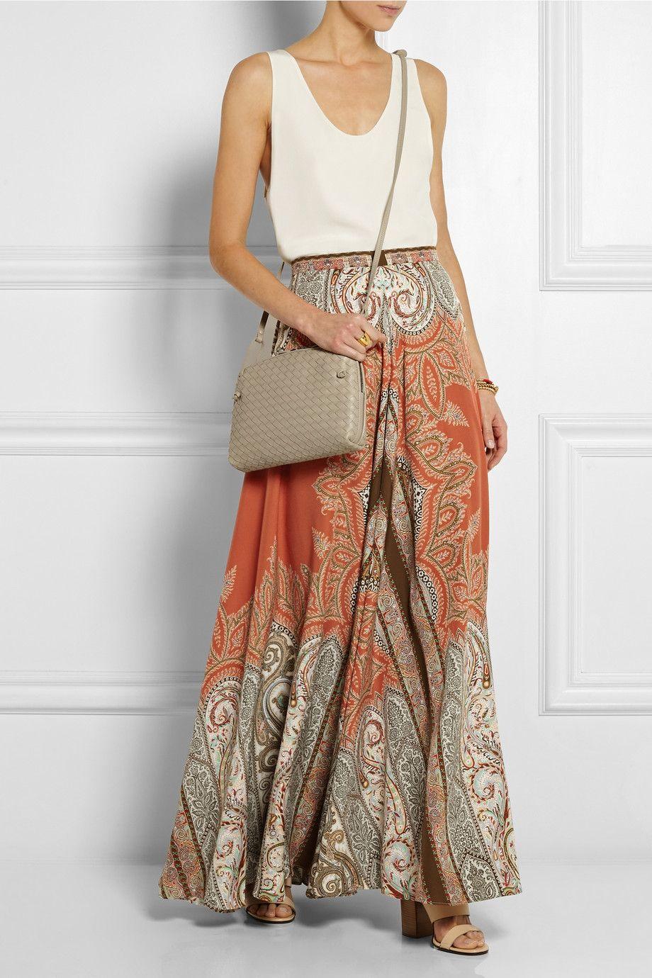 Etro multicolor print maxi skirt