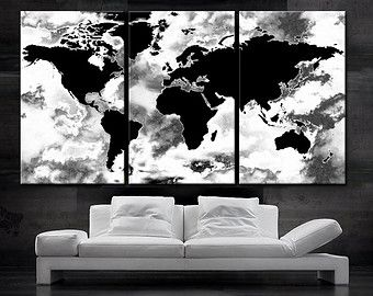 Large 30x 60 3 panels art canvas print world map by boxcolors home large 3 panels art canvas print beautiful world map black white wall home decor interior included framed depth gumiabroncs