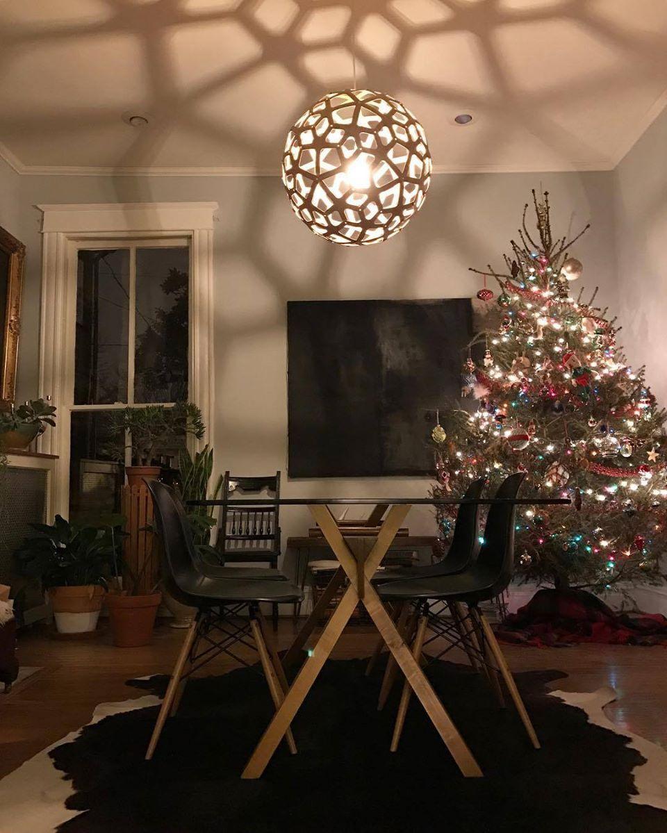 A David Trubridge CORAL Pendant Light, Shadows And A Christmas Tree. Merry  Merry,