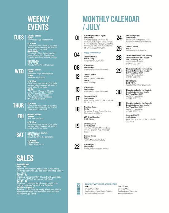 The Oc Mix July Calendar Schedule Design Layout Event Schedule Design Schedule Design
