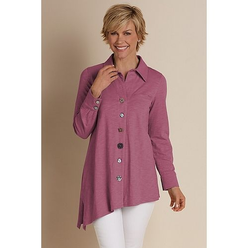Asymmetric Button Top  - ROSEWOOD from Soft Surroundings on Catalog Spree, my personal digital mall.