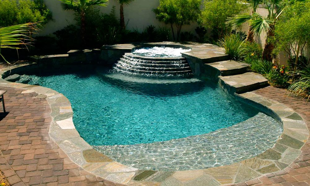 spa pool spool spool with walk in beach entry - Beach Entry Swimming Pool Designs
