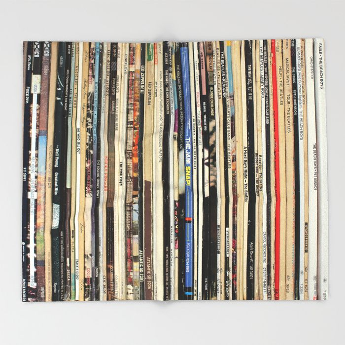 Classic Rock Vinyl Records Throw Blanket by nmtdot