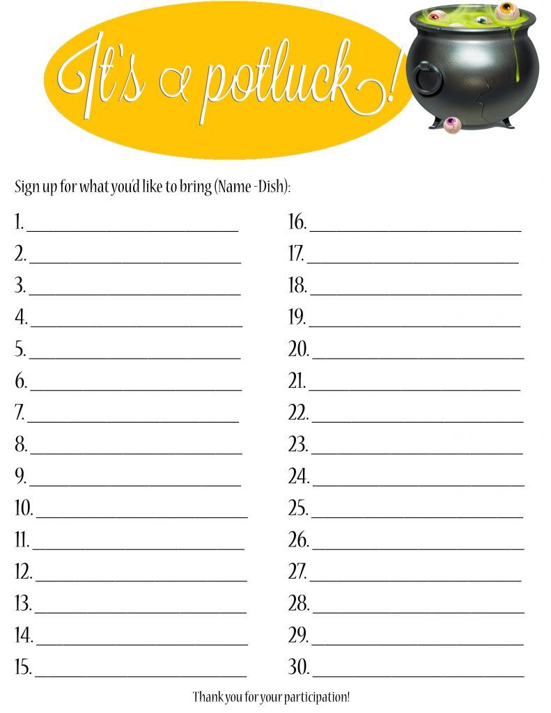 Google Docs Potluck Signup Sheet (With images) | Sign up ...