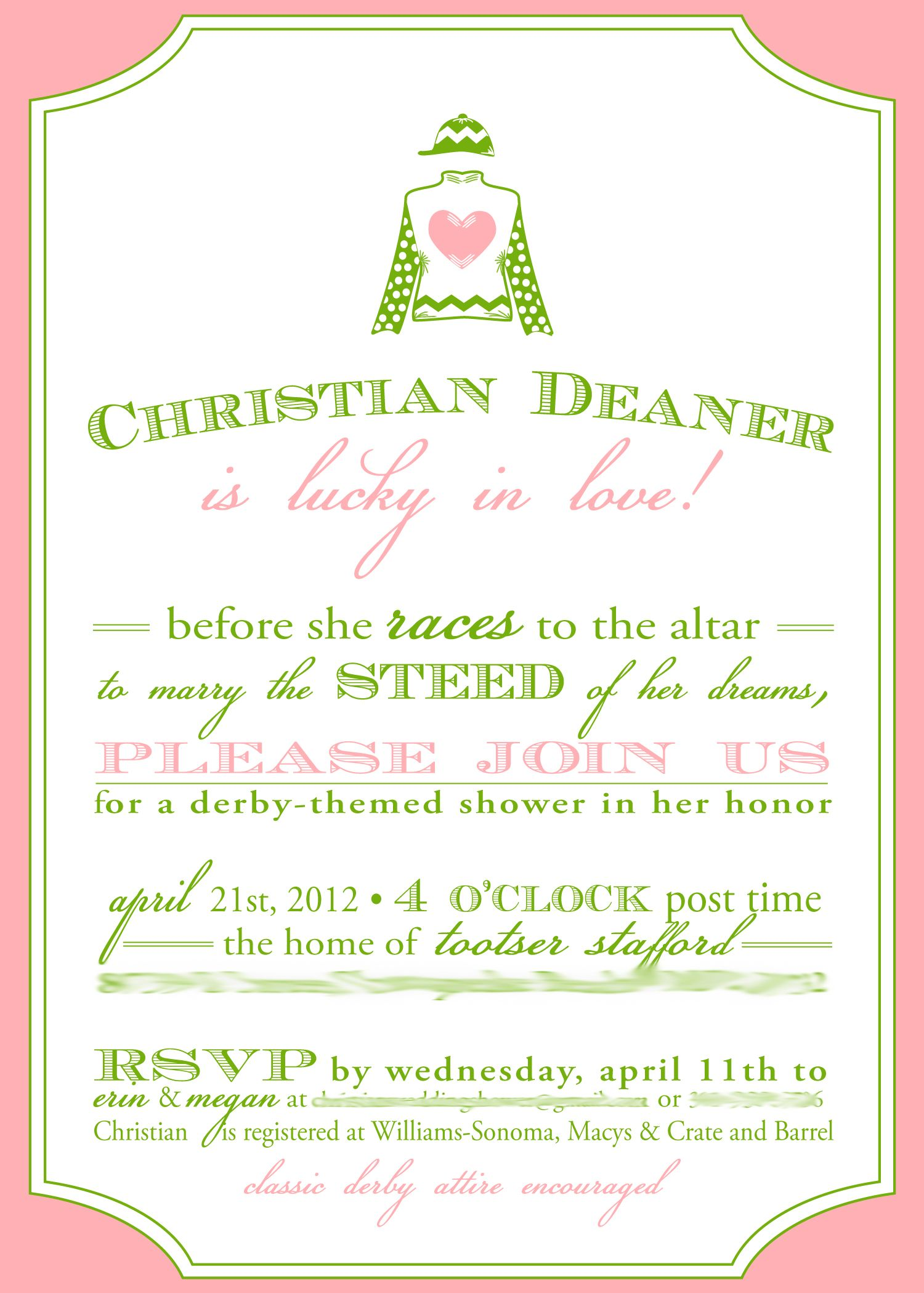 Image detail for -Kentucky Derby themed bridal shower invitation ...